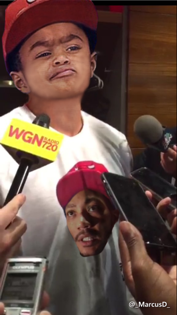 e1ade4f2ccb Derrick Rose post game in the locker room wearing his Son P.J. Rose face  meme on his shirt. Switched things around. Oklahoma City Thunder vs Chicago  Bulls ...