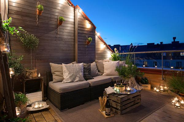 décoration style scandinave terrasse éclairage guirlande guinguette
