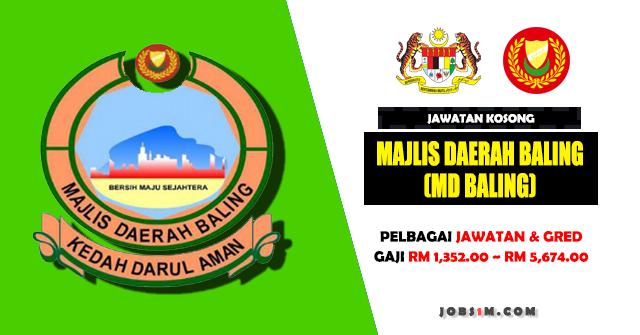 Jawatan Kosong Majlis Daerah Baling (MD Baling) - KELAYAKAN SPM ~ DIPLOMA