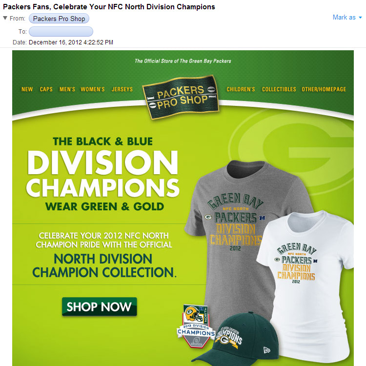 2fb64950 The Wearing Of the Green (and Gold): NFC North Champions! Now Buy ...