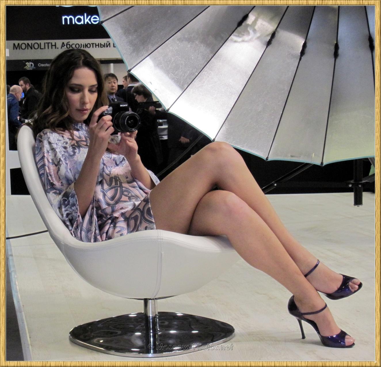 Long Legs Russian Beauty in Summer Mini Dress