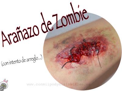 Arañazo zombie caracterización halloween