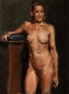Oil painting of a standing female nude.