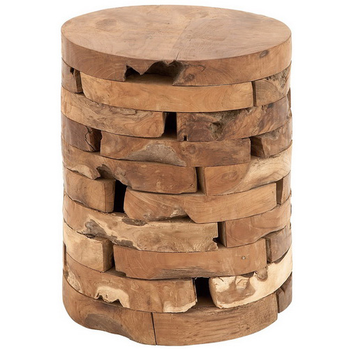 Tinuku Store Cylindrical Deco 79 teak wood stool diverse natural features generations trees