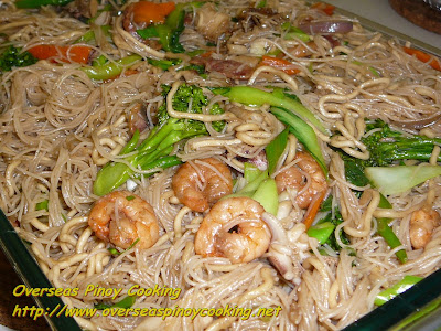 Seafood Mixed Pansit Guisado, Seafood Mixed Noodle Stirfry
