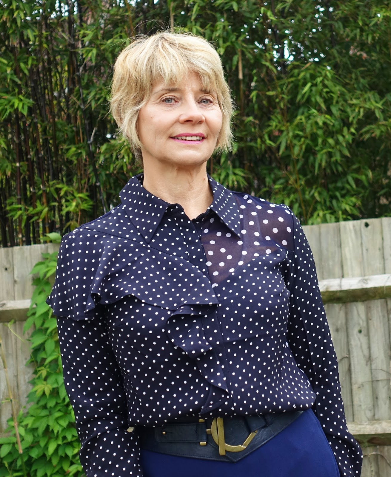 Gail Hanlon at Is This Mutton in Finery London polka dot blouse