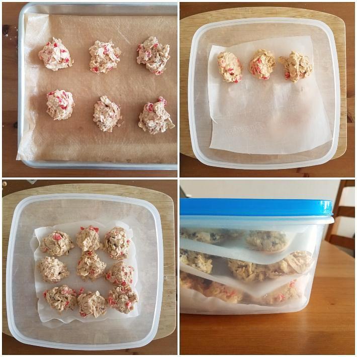 Cómo congelar la masa de las galletas de avena, collage de 4 fotos