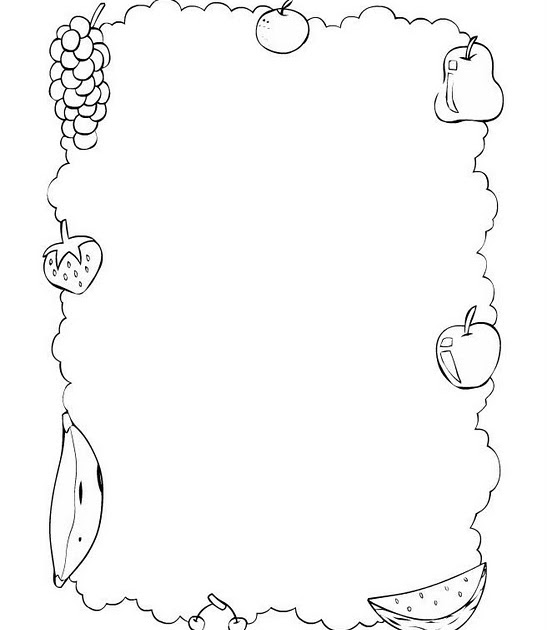 Borde de Frutas para colorear e imprimir ~ 4 Dibujo
