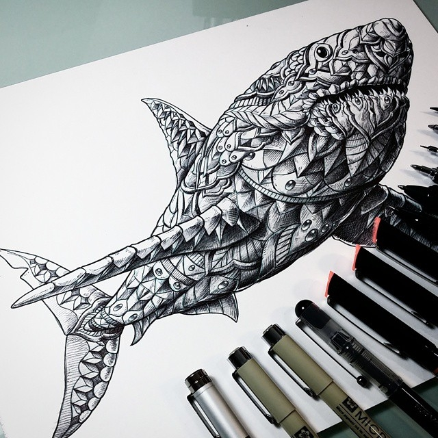 10-Great-White-Shark-Ben-Kwok-Ornate-and-Intricate-Animal-Drawings-www-designstack-co
