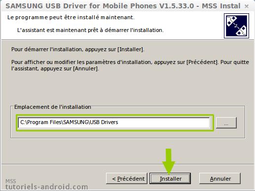 Chemin installation drivers USB pour SAMSUNG