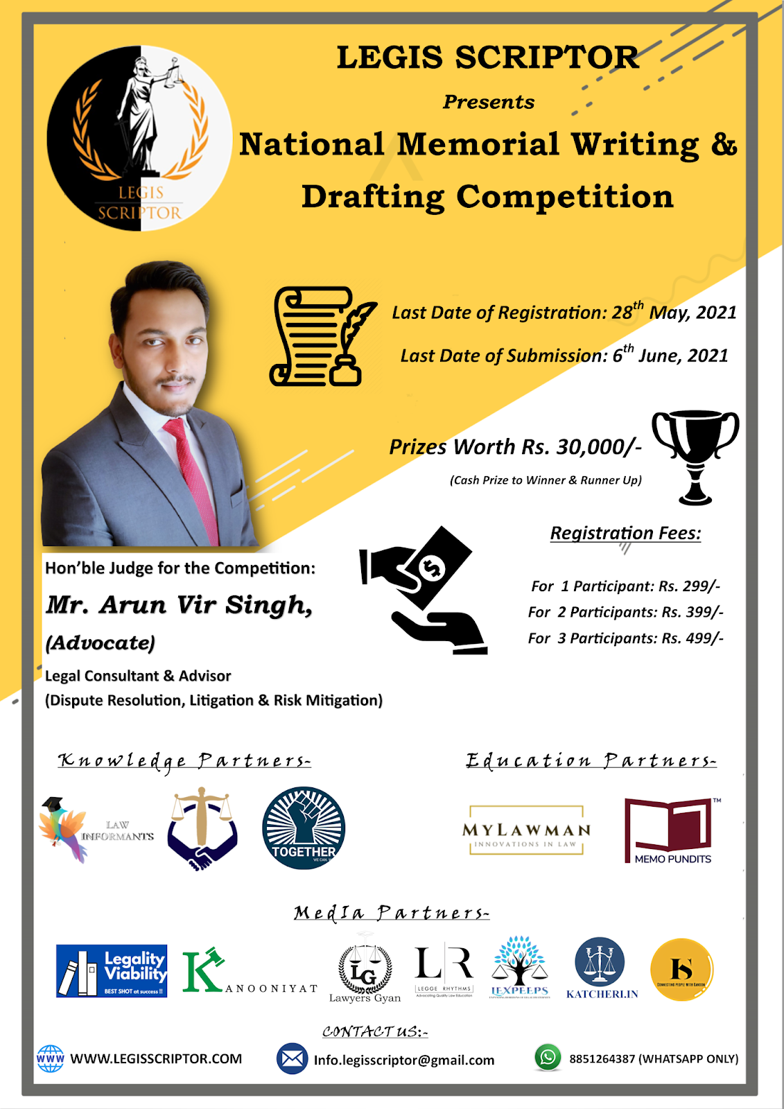 National Memorial Writing & Drafting Competition by Legis Scriptor [Register by 28 May 2021]