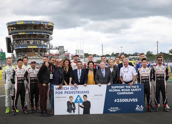 Princess Charlene wore a leather biker jacket of the Le Mans 24h endurance Race at the Circuit de la Sarthe