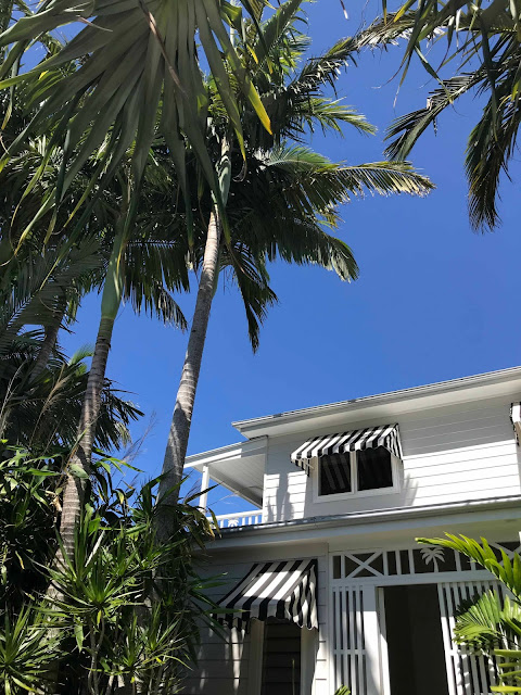 Palm trees next to an open door of a white weatherboard house under a blue cloudless sky.