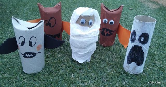 figuras terroríficas con papel higiénico, momias, vampiros, fantasmas