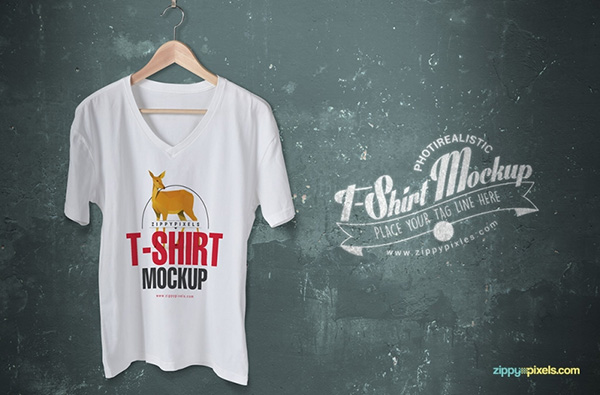 Download T-shirt Mockup PSD Terbaru Gratis - Trendy Free V-Neck T-Shirt Mockup