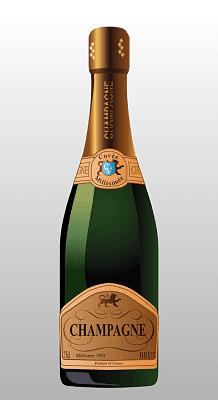 Champagne. Caricatura de una botella de champagne sin marca