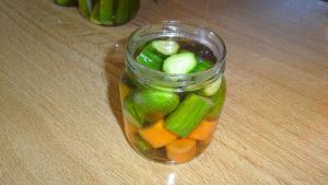 Cucumber an carrot Pickles in a Jar