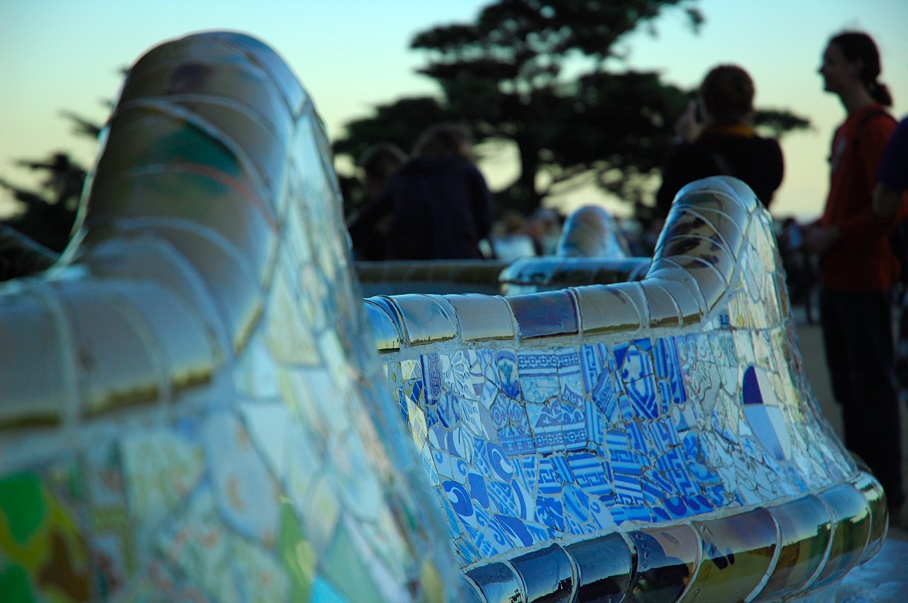 Trencadis serpentine bench at Park Guell by Antoni Gaudi