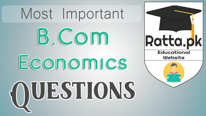 B.Com Economics Important Questions Notes