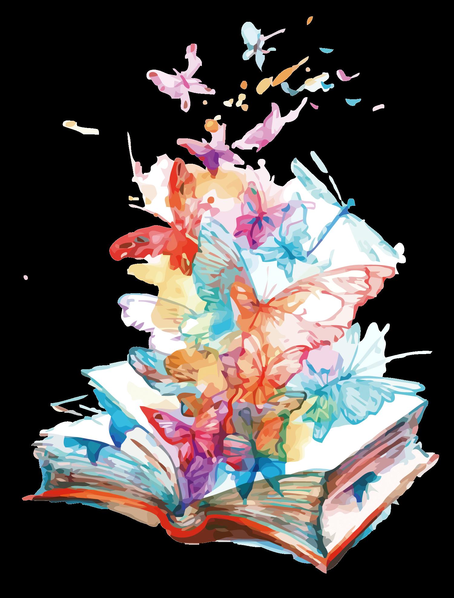 render libro con mariposas