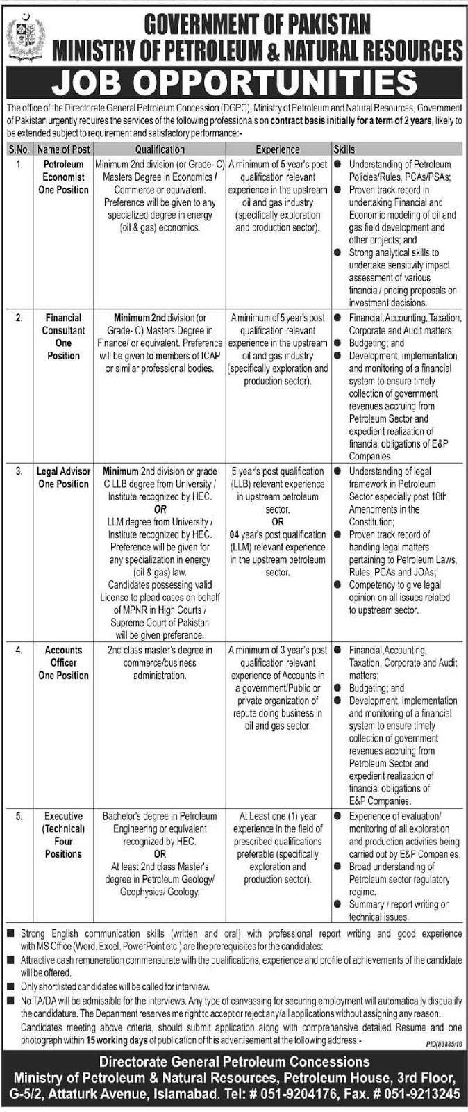 Ministry of Petroleum & Natural Resources 4+ Jobs In Islamabad