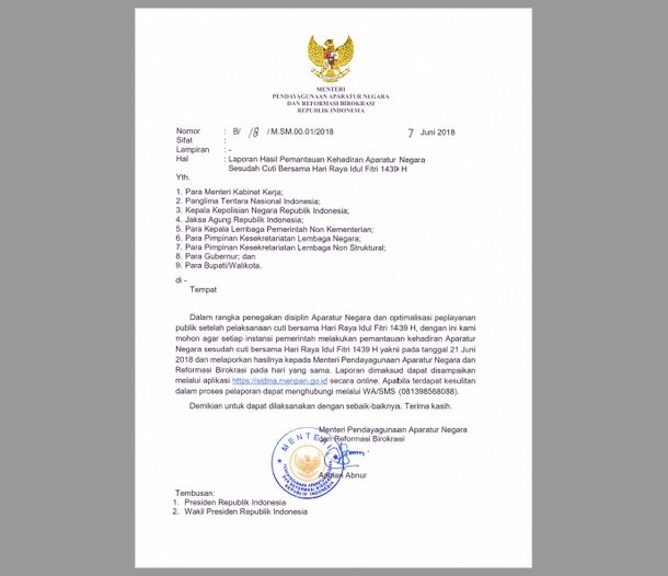 Surat Edaran Perihal Permintaan Laporan Hasil Pemantauan Kehadiran PNS Sesudah Cuti Bersama Idul Fitri 2018