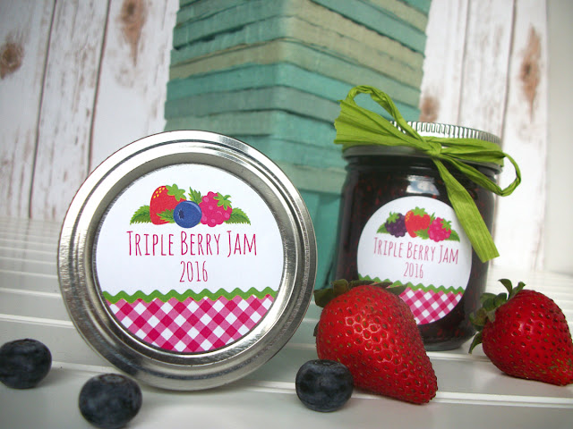 Gingham Triple Berry Jam canning labels