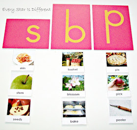 Apple themed first letter sound learning activity with free printable.