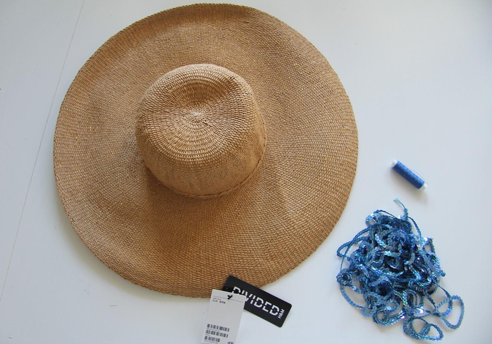cekinowy napis na kapeluszu