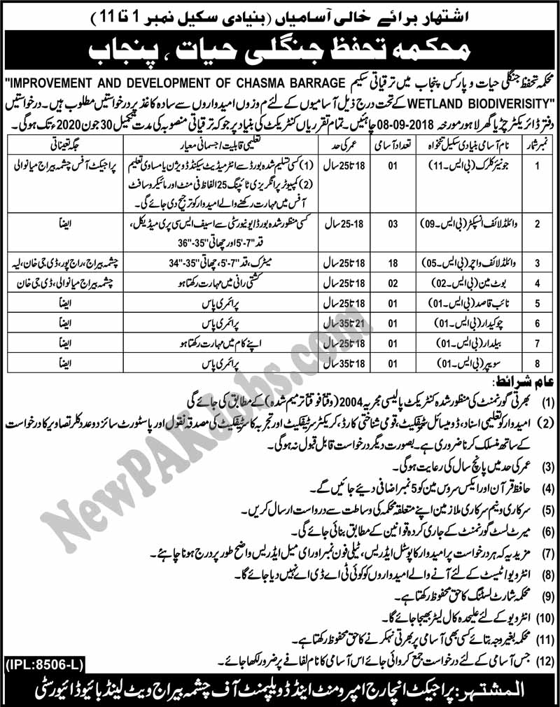 Latest Jobs in Punjab Wildlife and Parks Department 19 August 2018