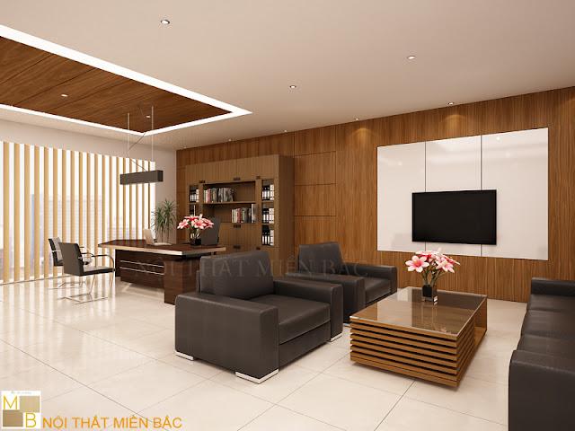 Chiếc tủ tài liệu giám đốc cao cấp bằng gỗ được bố trí ngay đằng sau vị trí ngồi của giám đốc tạo background đầy ấn tượng