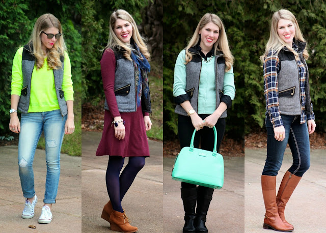 50 Ways to Wear a Vest, 50 Ways to Wear a Puffer Vest, white puffer vest, turquoise puffer vest, fur vest, herringbone vest, olive quilted vest, striped vest