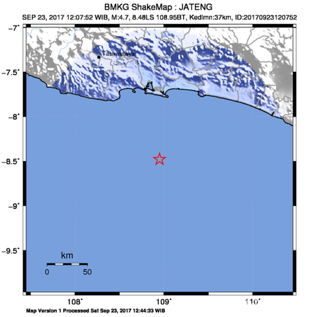Gempa 4,7 SR Guncang Cilacap
