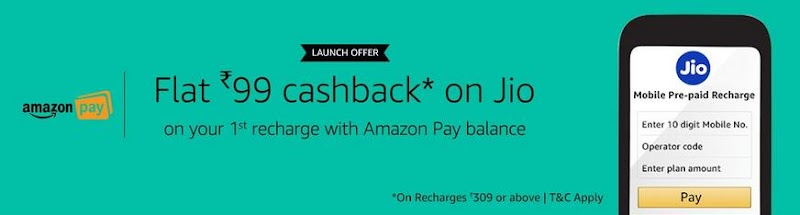 Amazon Recharge Offer : Get Rs.99 Cashback on Jio Recharge from Amazon