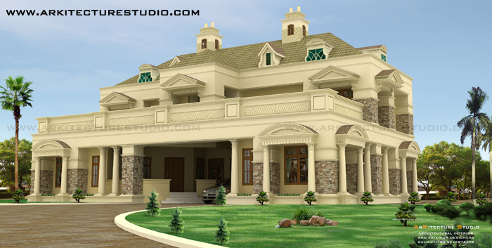 6500 sqft Colonial Style Luxury 5 BHK home Design By Arkitecture ...