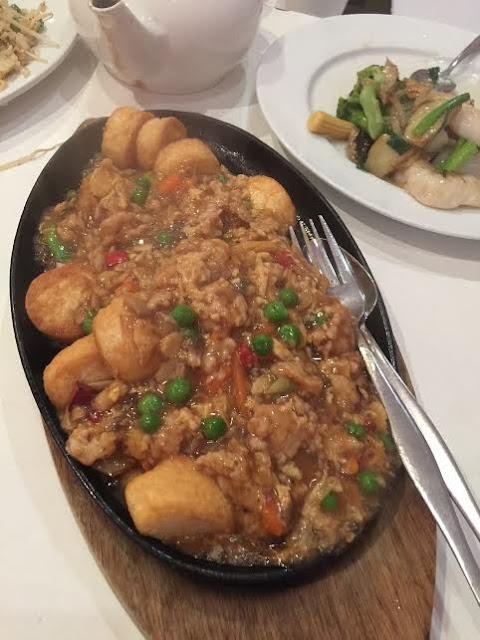 silken tofu;  sizzle plate;  japanese tofu;  pork;  chopstick delight