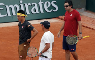 Nishikori plays 1st Grand Slam match since Wimbledon