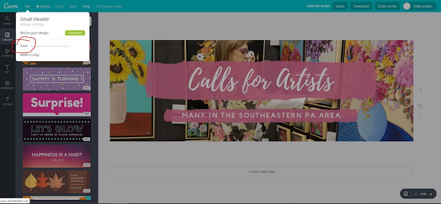 Step 9, How to use Canva, save, The Good Life of an Artist Blog by Merrill Weber
