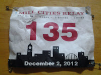 Lance Eaton's running number for the Mill Cities Relay