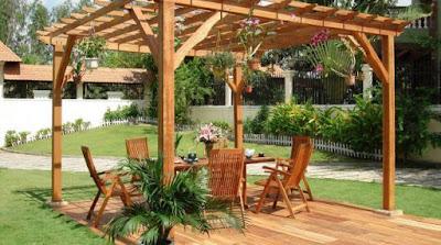 مظلات خشبية للحدائق افضل الاشكال والاعمال