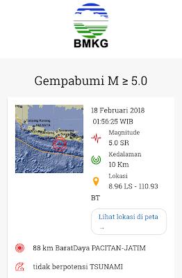 gempa bumi hari ini minggu 18 februari 2018