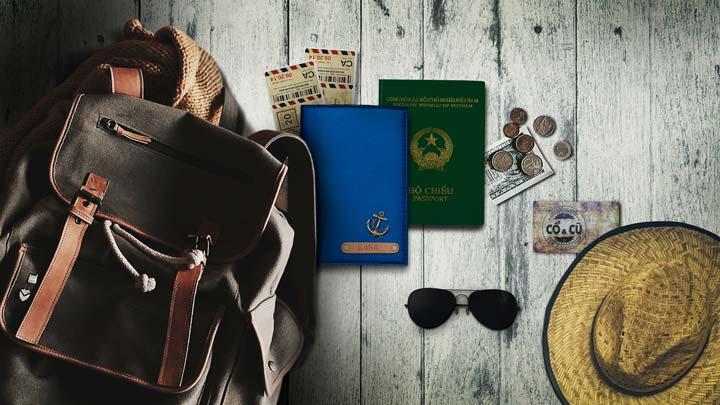 ví passport xanh dương