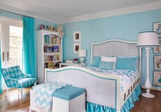 Dormitorio turquesa blanco