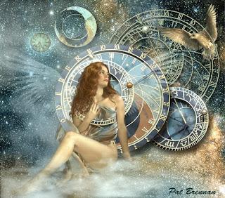 картина девушка и часы