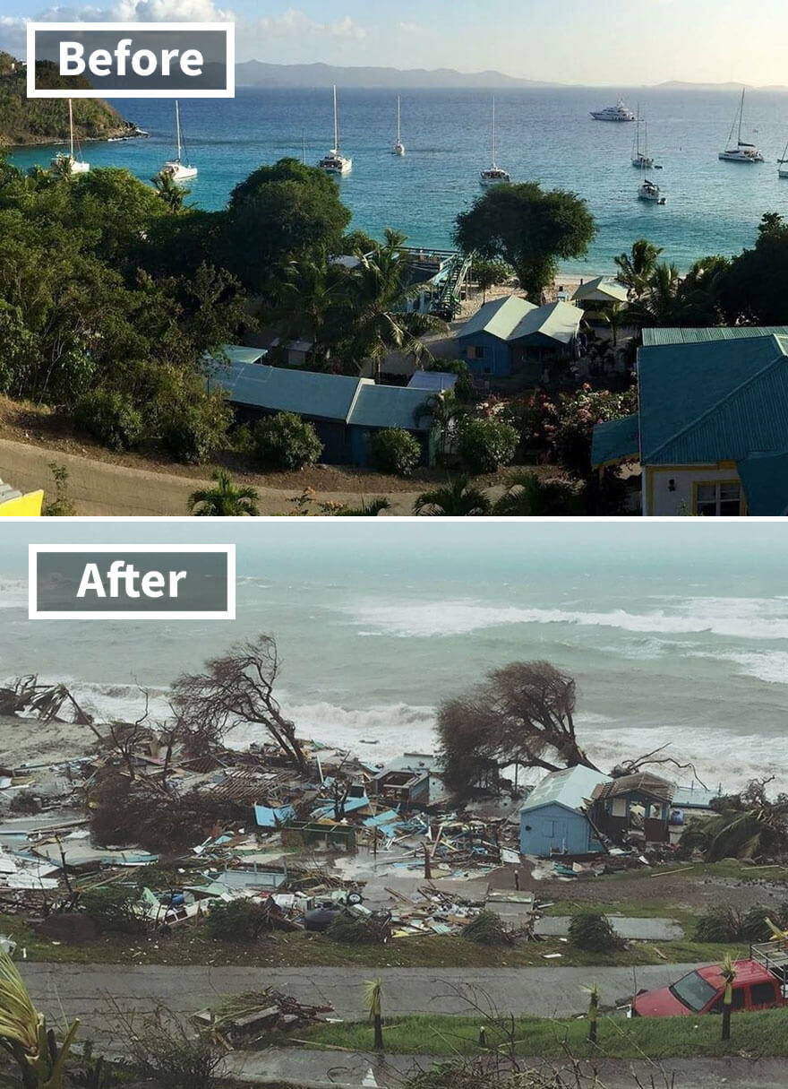 30 Shocking Pictures That Show How Catastrophic Hurricane Irma Is - Popular Ivan's Stress Free Bar On Jost Van Dyke In The British Virgin Islands (Before And After Irma Damage)