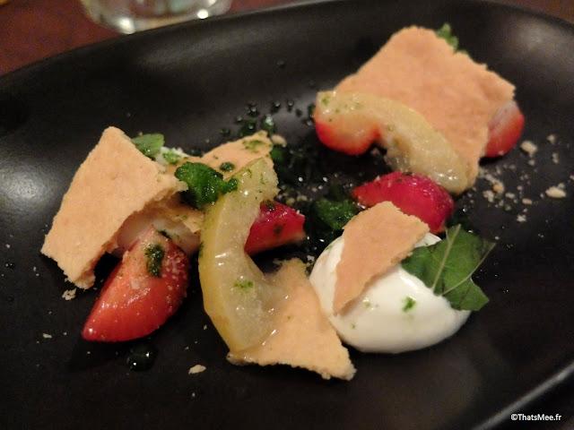 resto bistronomique menu 7 plats le galopin Paris 10eme romain tischenko top chef, dessrt ricotta fraises