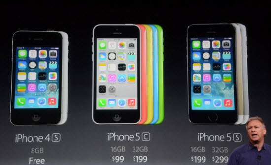 iPhone 5S iPhone 5c, price starts at 199 $ for the 16GB, 299 $ for the 32GB, and 399 $ for the 64GB on the basis of a two-year contract