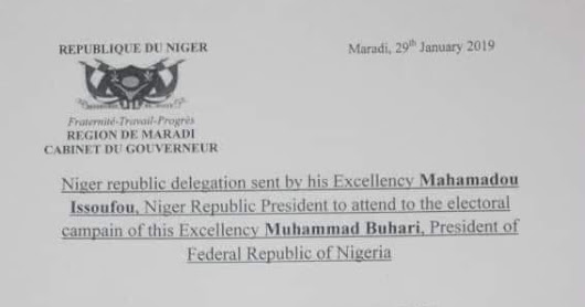 Niger Republic delegates memo to President Buhari rally in Kano surface online.