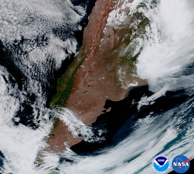Cận cảnh quốc gia Argentina và khu vực Nam Mỹ qua hình ảnh của vệ tinh GOES-16. Hình ảnh: NOAA/NASA.