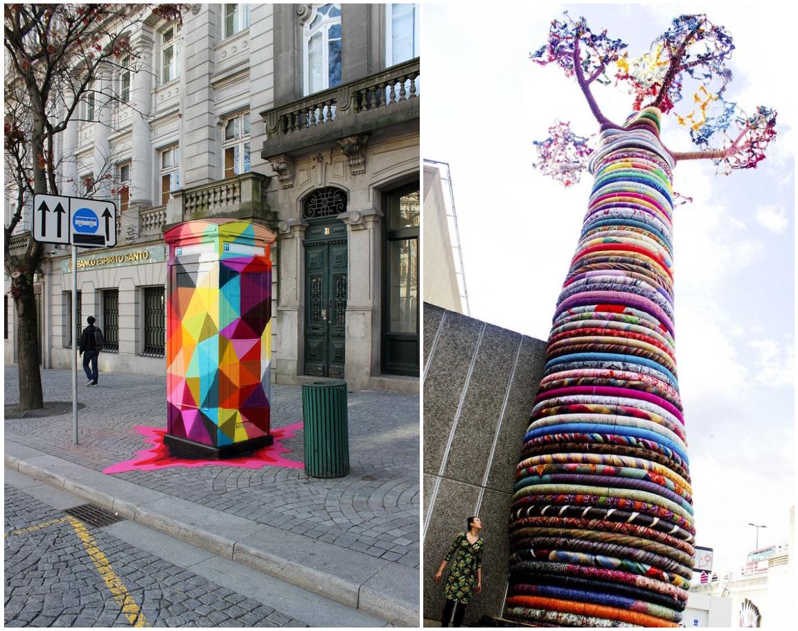 Esculturas urbanas con color